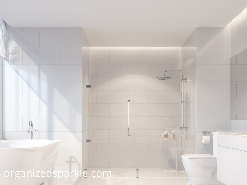 picture of a pure white master bathroom