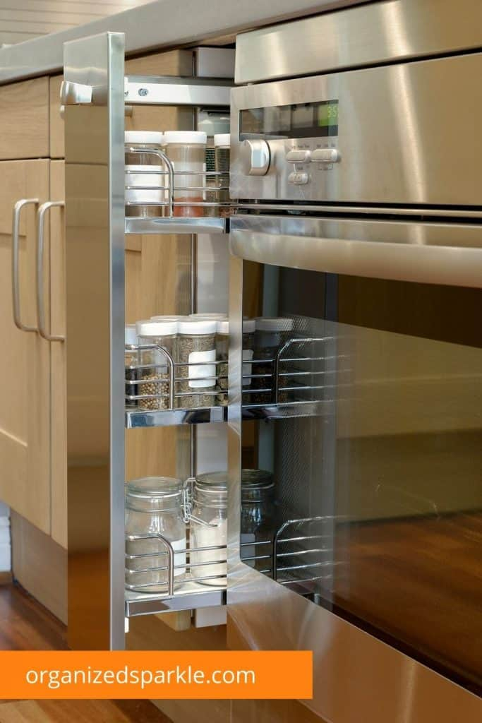 pull out spice cabinet drawer and shelving unit
