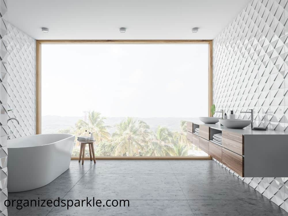 Spectacular Master Bathroom With Freestanding Bathtub with a great view