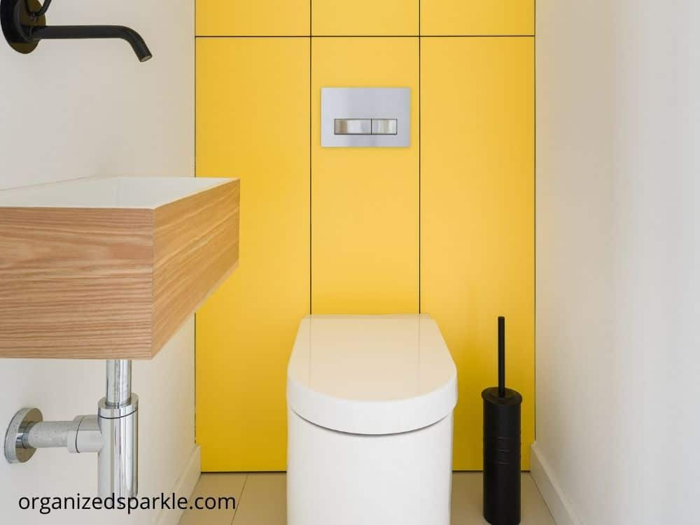 yellow bathroom decorating ideas feature wall