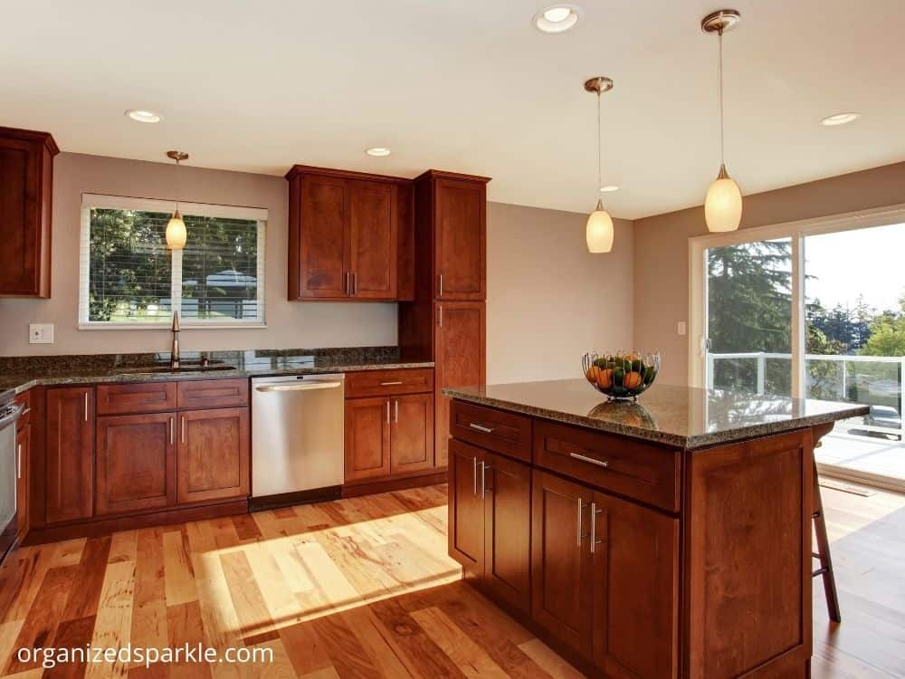picture of pendant lighting in a large kitchen