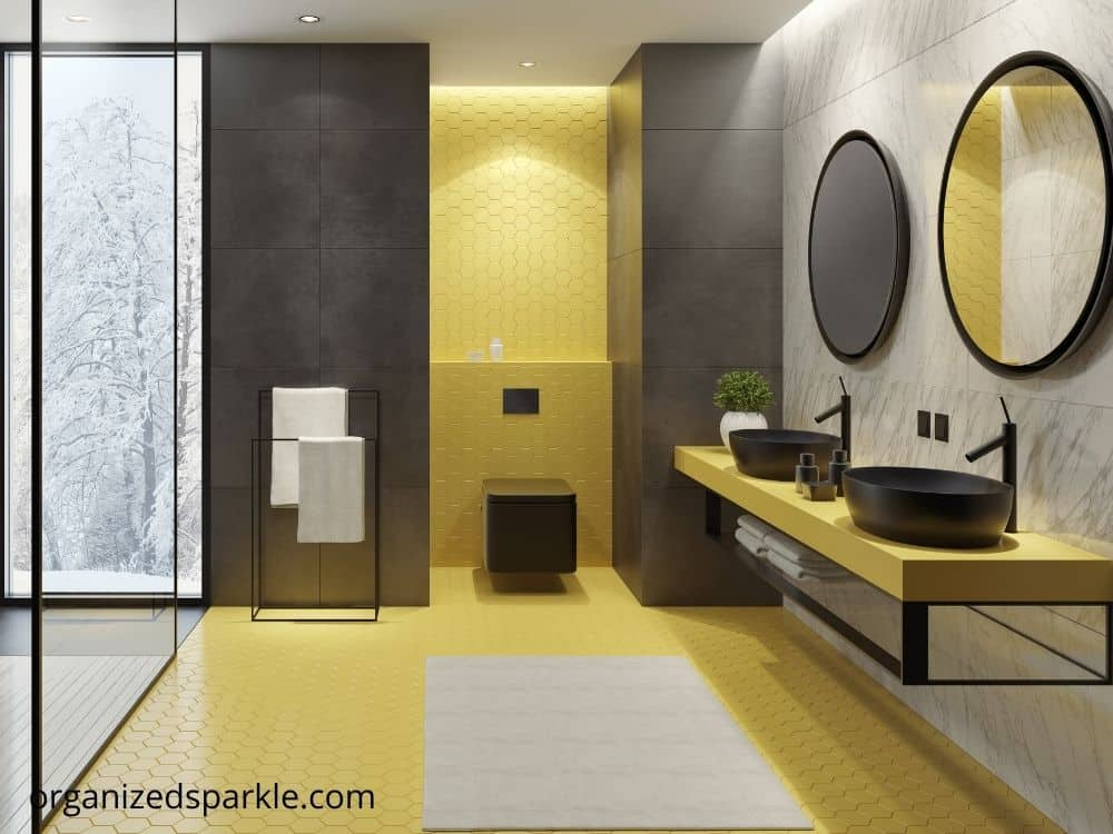 idea for a black white and yellow bathroom