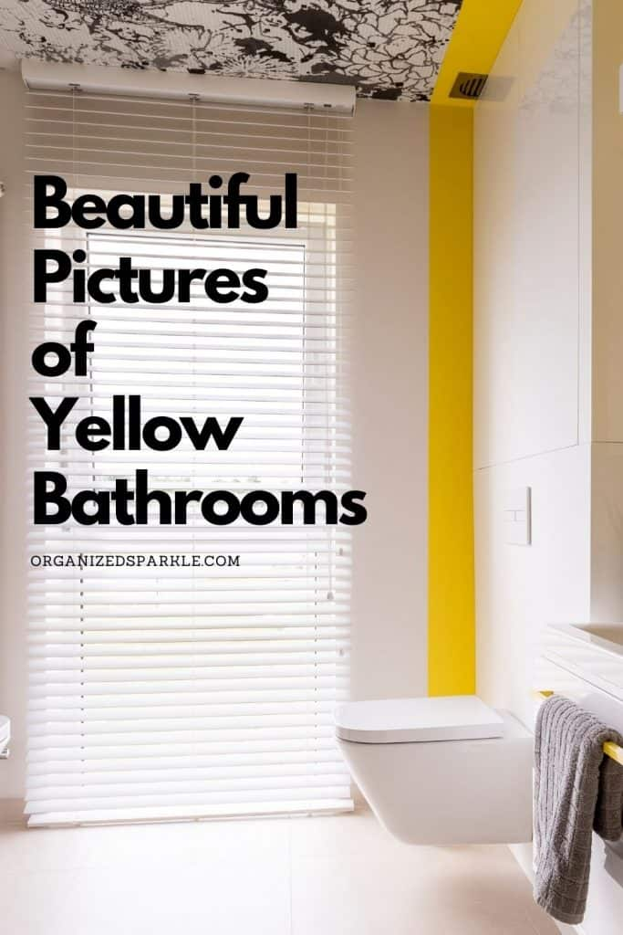 white bathroom with yellow highlights