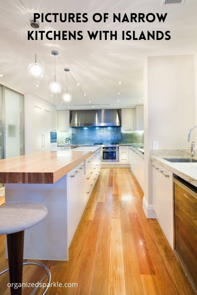 images of narrow kitchens with islands