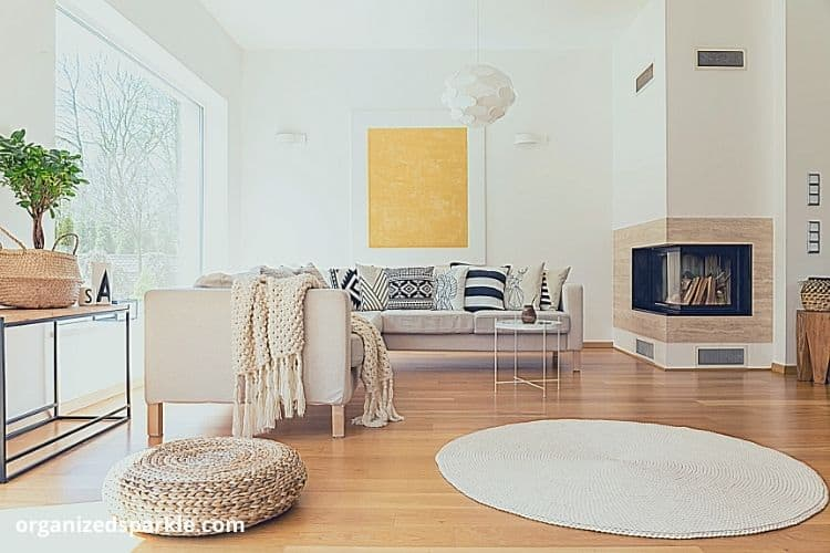 example of a living room fire designed to fit a corner