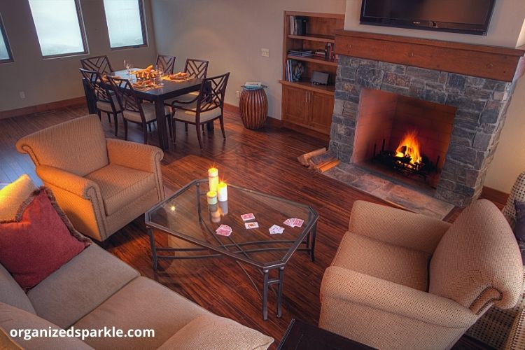 cozy brown living room with firplace