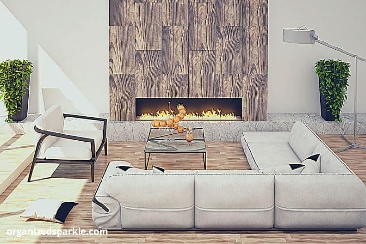 modern minimalist room with a central fireplace