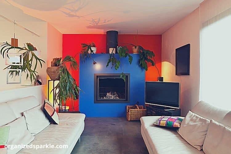 bright and bold small living room with a modern fire