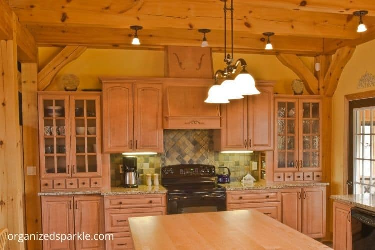 country style kitchen with exposed ceiling beams