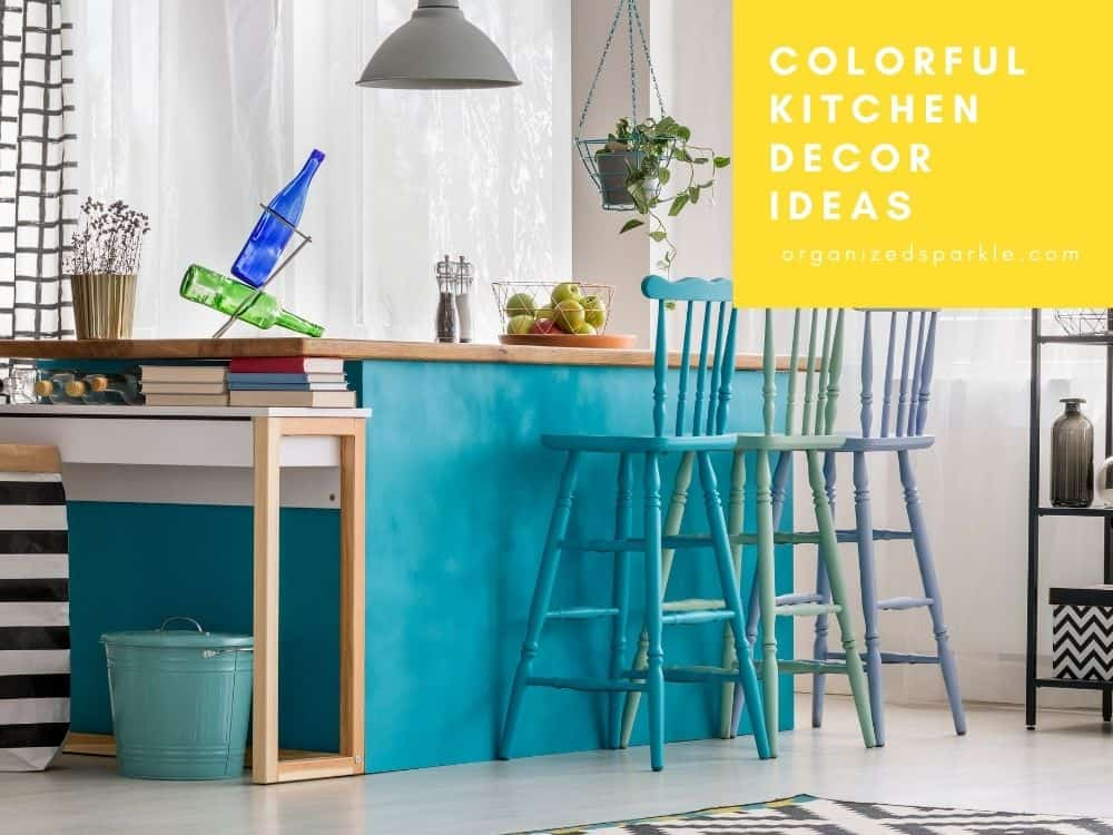 image of a colorful kitchen with bright colored accessories