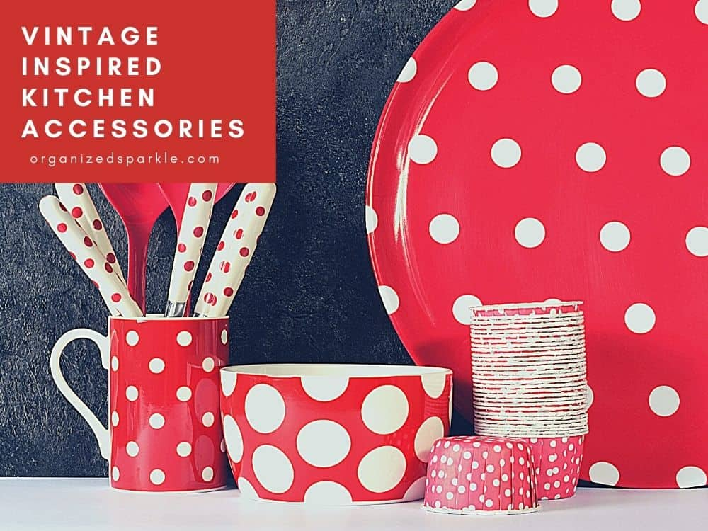 picture of red and white kitchen accessories