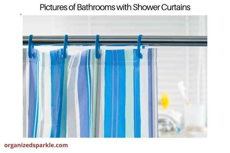 blue and white stripe shower curtain