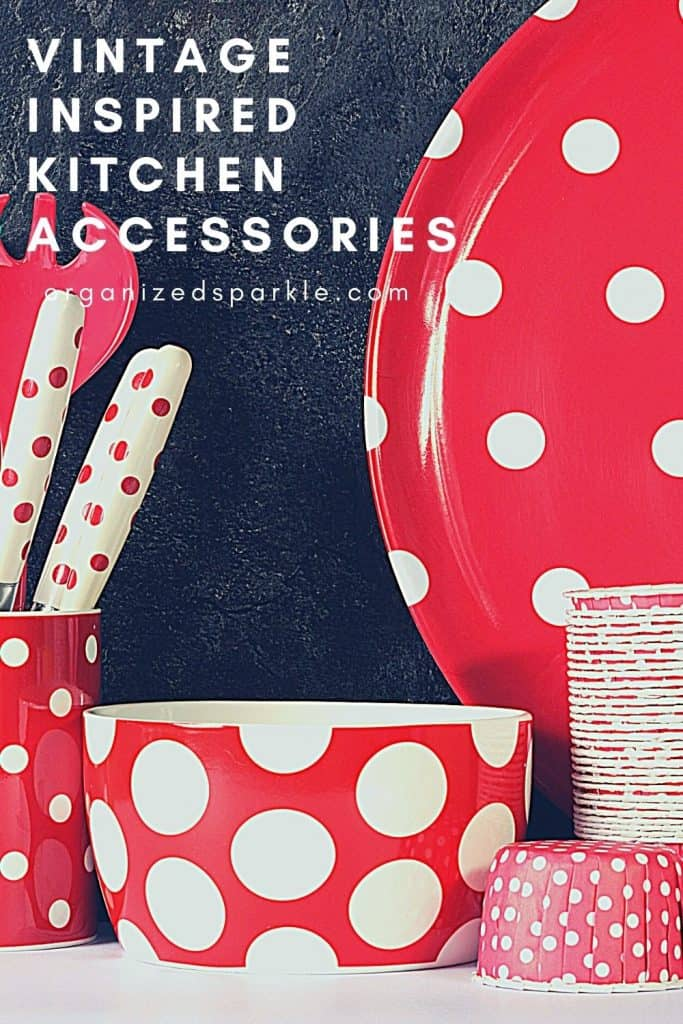 picture of red polka dot kitchen accessories for a vintage style kitchen