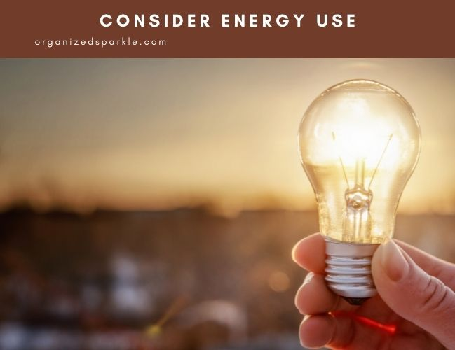 energy use considerations in a bathroom